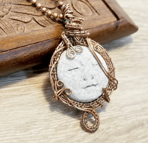 Moon Face Jewelry, Wire Weave Moon Pendant