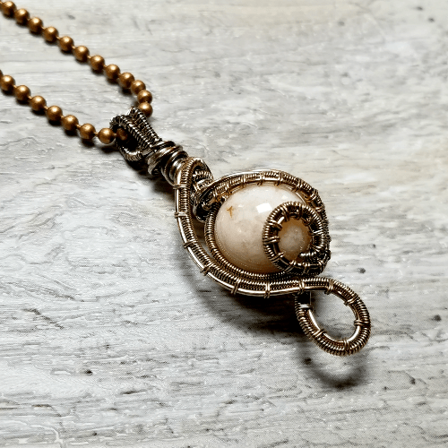 Peach Agate Necklace, Wire Wrapped Jewelry