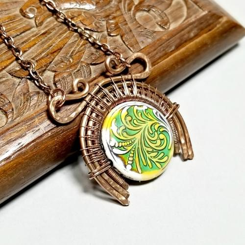 Wire Weave Moon Necklace, Upside Down Moon Pendant