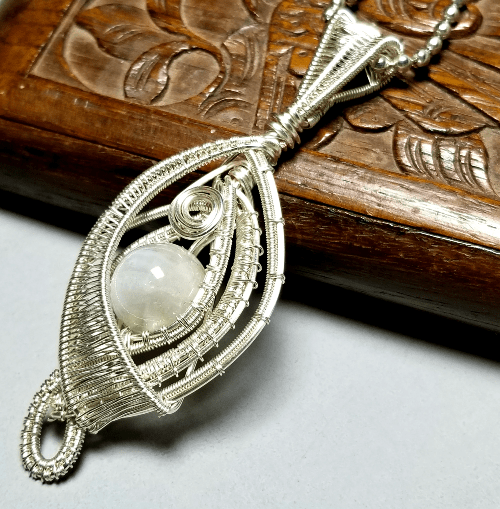 Wire Wrapped Moonstone Necklace Silver, Wire Weaved Jewelry