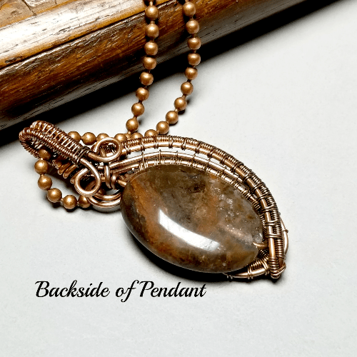 Wire Wrapped Copper Pendant, Gemstone Statement Necklace