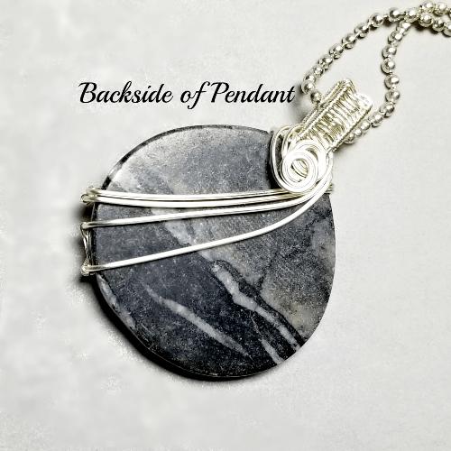 Black Jasper Necklace, Wire Wrapped Pendant Silver