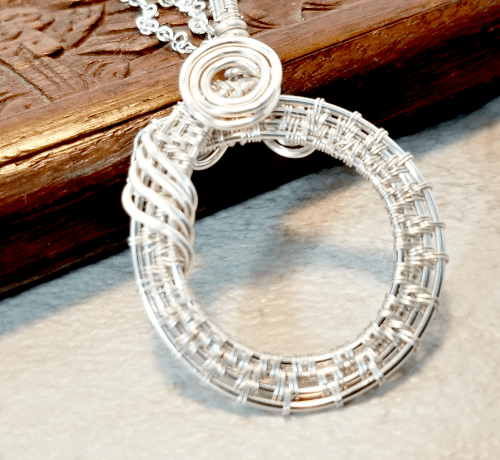 Circle Pendant Necklace, Wire Wrapped Jewelry, Woven Wire Karma Circle