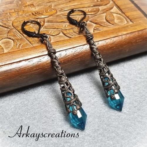 Vintage Style Blue Crystal Earrings, Aqua Blue Long Earrings