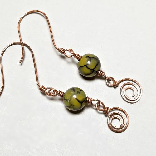 Dragon Agate Earrings, Green Gemstone Jewelry, Copper Wire Earrings