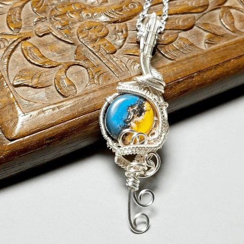 Lampwork Necklace, Wire Wrapped Jewelry