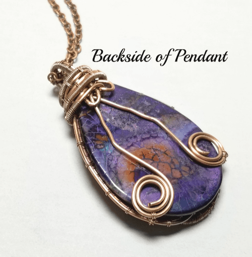 Dragon Vein Agate Purple Pendant Necklace, Wire Wrapped Gemstone Jewelry