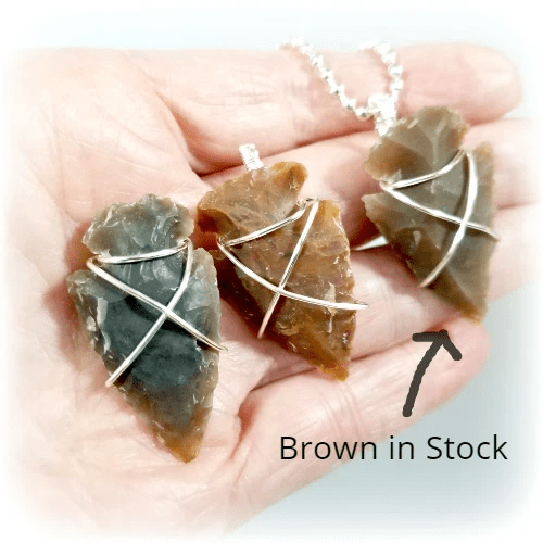 Arrowhead Pendant, Tribal Necklace, Wire Wrapped Jewelry