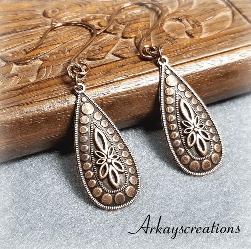 Embossed Copper Teardrop Earrings, Anniversary Gift