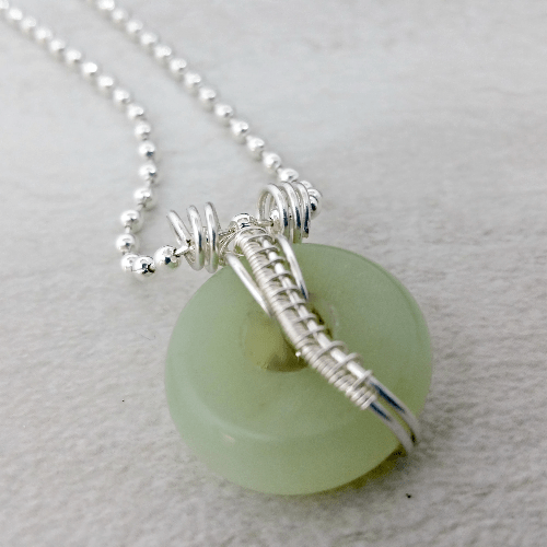 Wire Wrapped Aventurine Necklace Gift for Her, Gemstone Donut Necklace