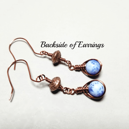 Blue Agate Earrings, Copper Wire Jewelry