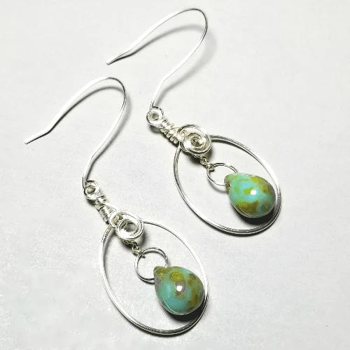 Boho Dangle Earrings, Wire Earrings, Tribal Jewelry