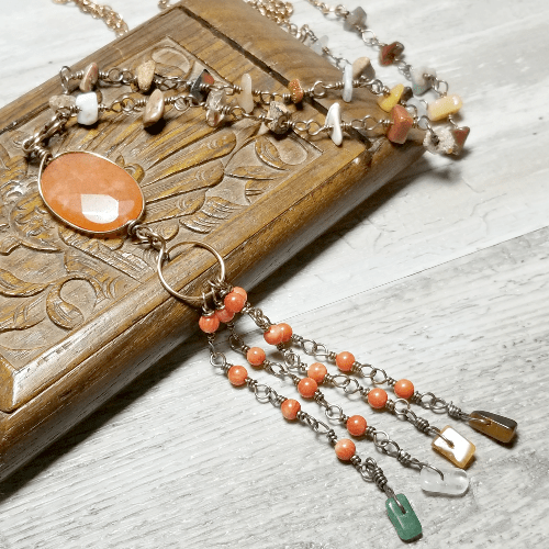 Long Bohemian Necklace, Tassel Necklace Boho, Gemstone Jewelry