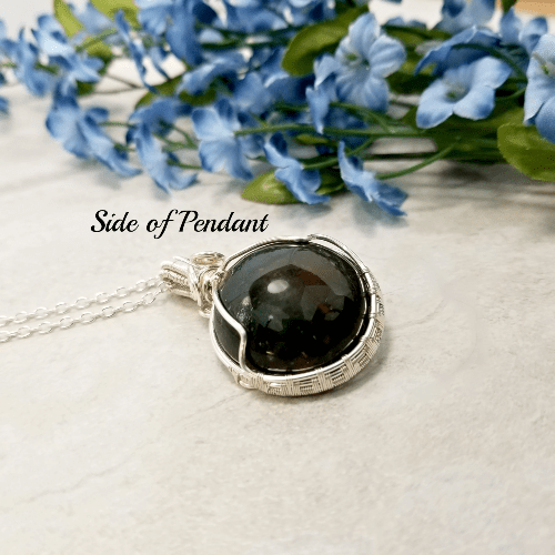 Black Onyx Pendant, Wire Wrapped Jewelry, Necklace for Men, Healing Gemstone Jewelry