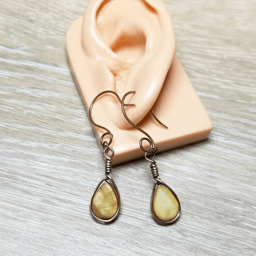 Wire Wrap Drop Earrings, Copper Wire Jewelry, Brown Teardrop Earrings
