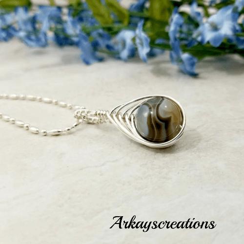 Herringbone Botswana Agate Necklace, Wire Wrapped Jewelry