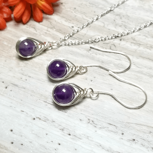 Matching Necklace Earrings Amethyst Jewelry Set