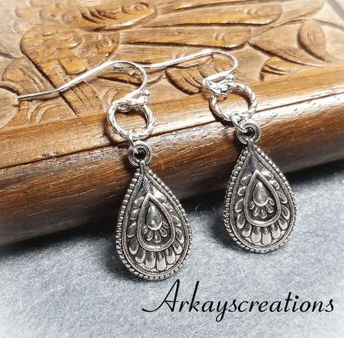 Silver Teardrop Earrings, Dangling Earrings