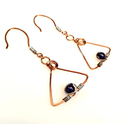 Mixed Metal Earrings, Edgy Earrings, Triangle Jewelry