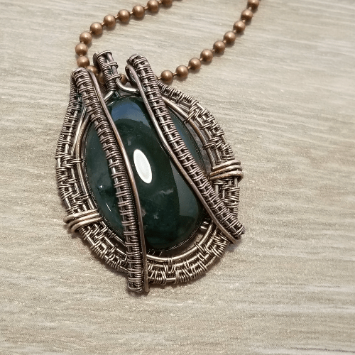 Wire Woven Stone Necklace, Agate Pendant, Indian Agate Jewelry