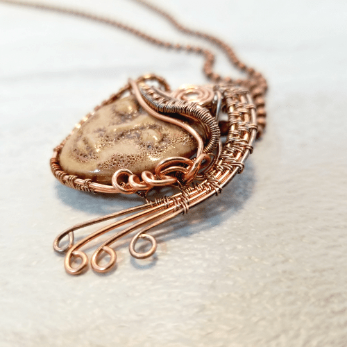 Wire Wrapped Moon Face Pendant Necklace, Goddess Jewelry