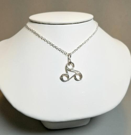 Silver Celtic Viking Pendant, Triskelion Necklace, Celtic Triskelion Jewelry