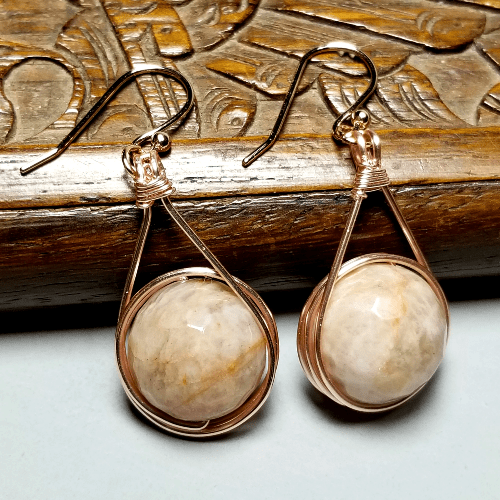 Wire Wrapped Rose Gold Sunstone Earrings, Earthy Jewelry