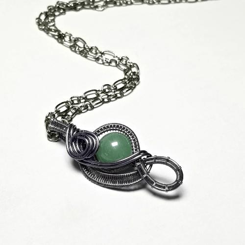 Wire Wrapped Aventurine Pendant, Wire Weave Jewelry