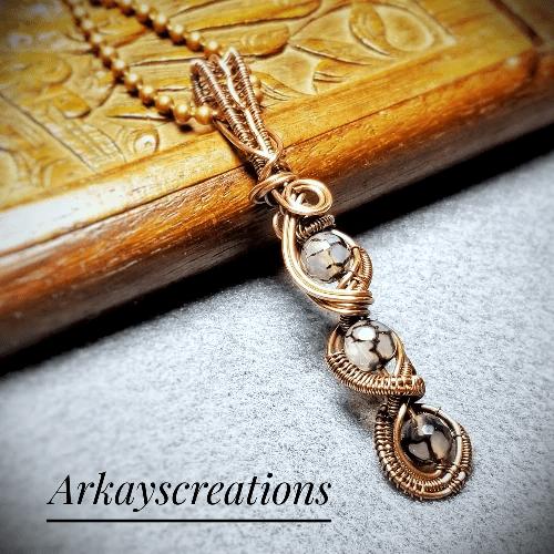 Dragon Vein Agate Wire Weave Jewelry Pendant