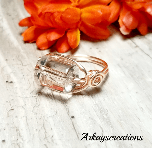 Rose Gold Quartz Ring, Wire Wrapped Jewelry