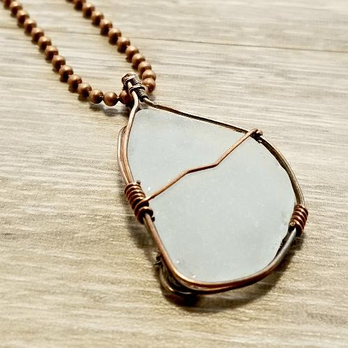 Sea Glass Jewellery, Wire Wrapped Beach Glass Necklace, Glass Pendant