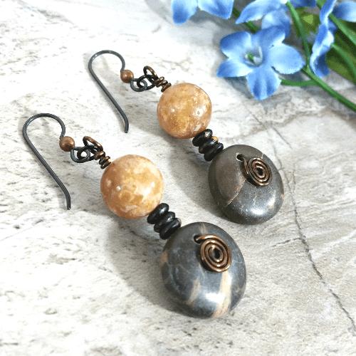 Tribal Earrings, Bohemian Jewelry, Earthy Gift for Her