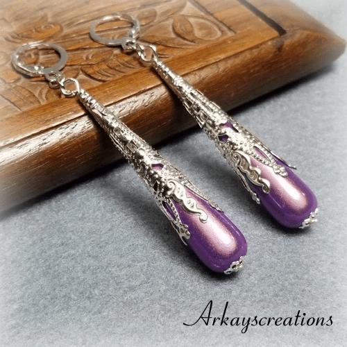 Long Teardrop Earrings, Purple Briolette Earrings #970867