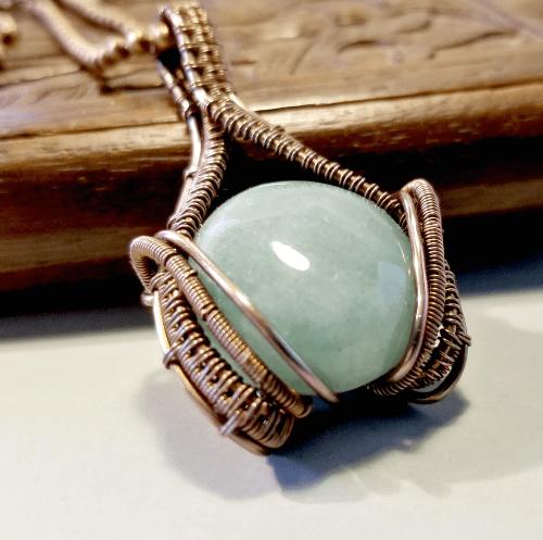 Aventurine Necklace, Wire Wrapped Gemstone Jewelry