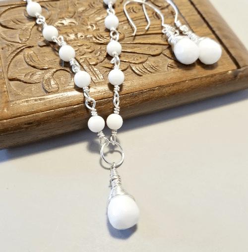 White Teardrop Necklace, Necklace Set, White Dangle Earrings