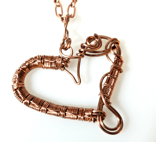 Wire Wrapped Copper Heart Necklace, Heart Jewelry for Women