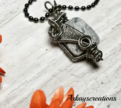 Wire Weave Gray Stone Necklace, Gray Jasper Jewelry