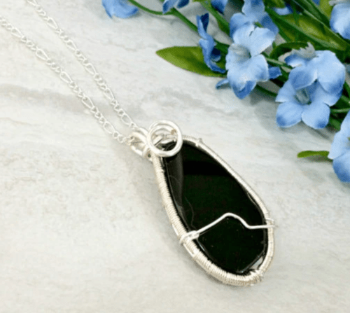 Agate Slice Pendant, Wire Wrapped Gemstone Necklace, Black Jewelry