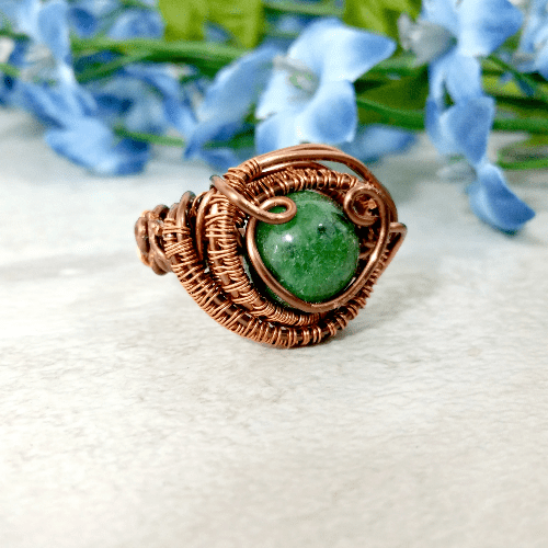 Wire Wrapped Ring, Mens Copper Jewelry, Boho Gemstone Ring