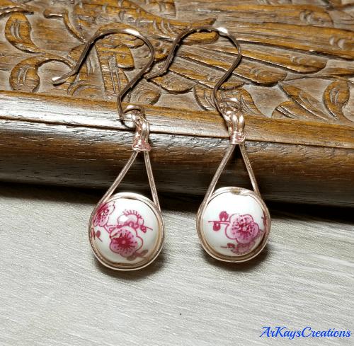 Red Flower Earrings, Porcelain Earrings, Flower Jewelry