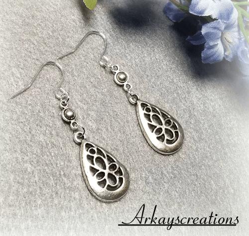 Silver Filigree Earrings, Teardrop Earrings, Dangle Earrings
