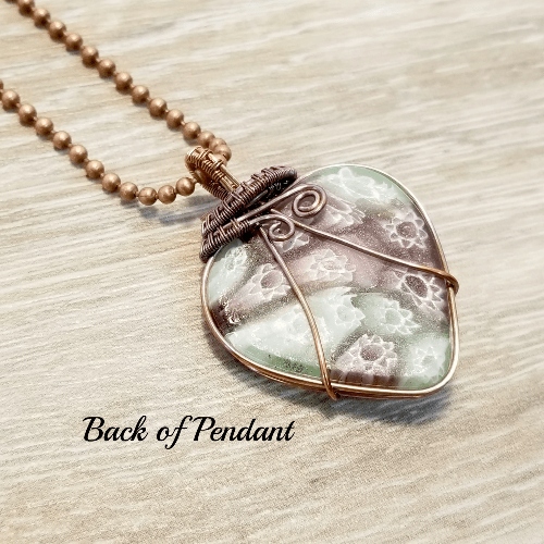 Wire Wrapped Glass Heart Pendant, Heart Jewelry, Gift for Women