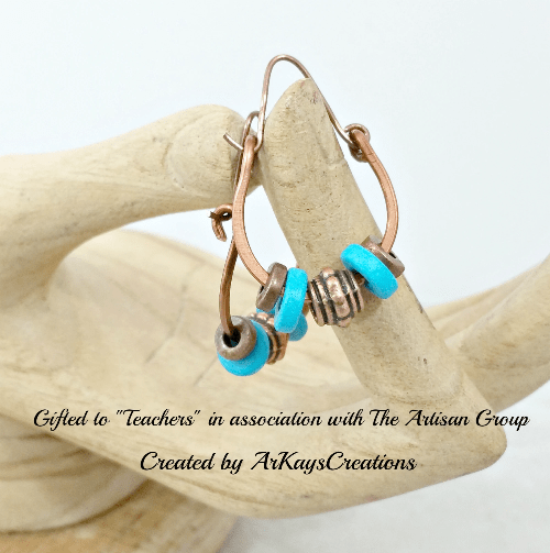 Boho Hoop Earrings, Copper Jewelry, Gift for Her