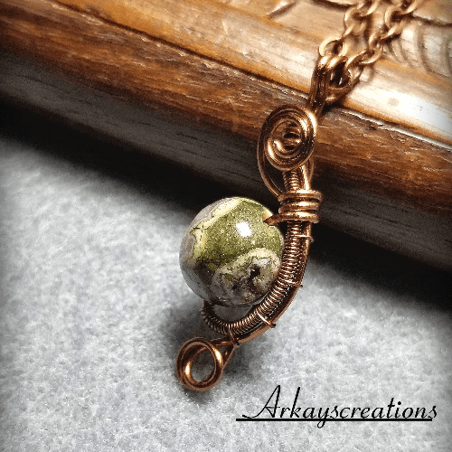 Wire Wrapped Petite Necklace, Copper Jewelry