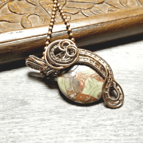 Wire Weave Jewelry, Stone Pendant, Necklaces for Women