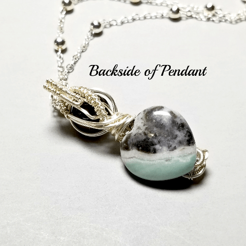 Wire Wrapped Amazonite Pendant Necklace