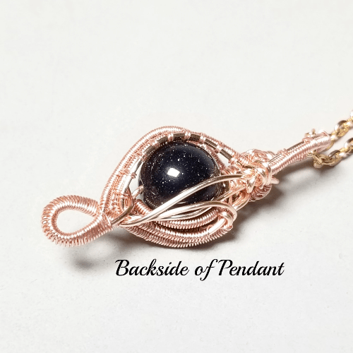 Blue Goldstone Rose Gold Necklace, Wire Weave Jewelry