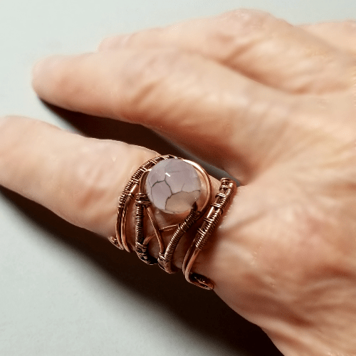 Copper Adjustable Ring, Wire Wrapped Ring, Gemstone Ring