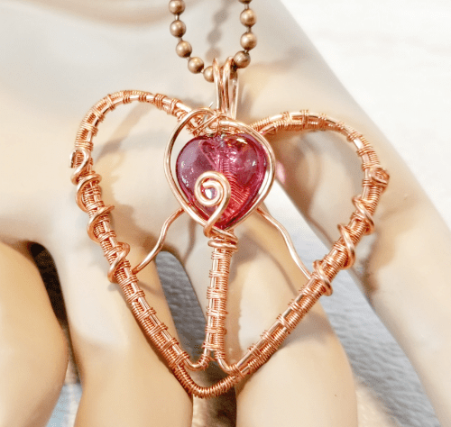 Wire Wrapped Copper Heart Pendant, Heart Jewelry