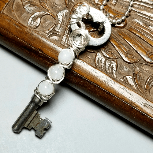 Wire Wrapped Key Necklace, Moonstone Jewelry Silver